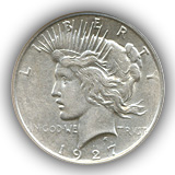 1927 Peace Silver Dollar Extremely Fine Condition