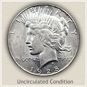 1928 Peace Silver Dollar Uncirculated Condition