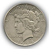 1928 Peace Silver Dollar Extremely Fine Condition