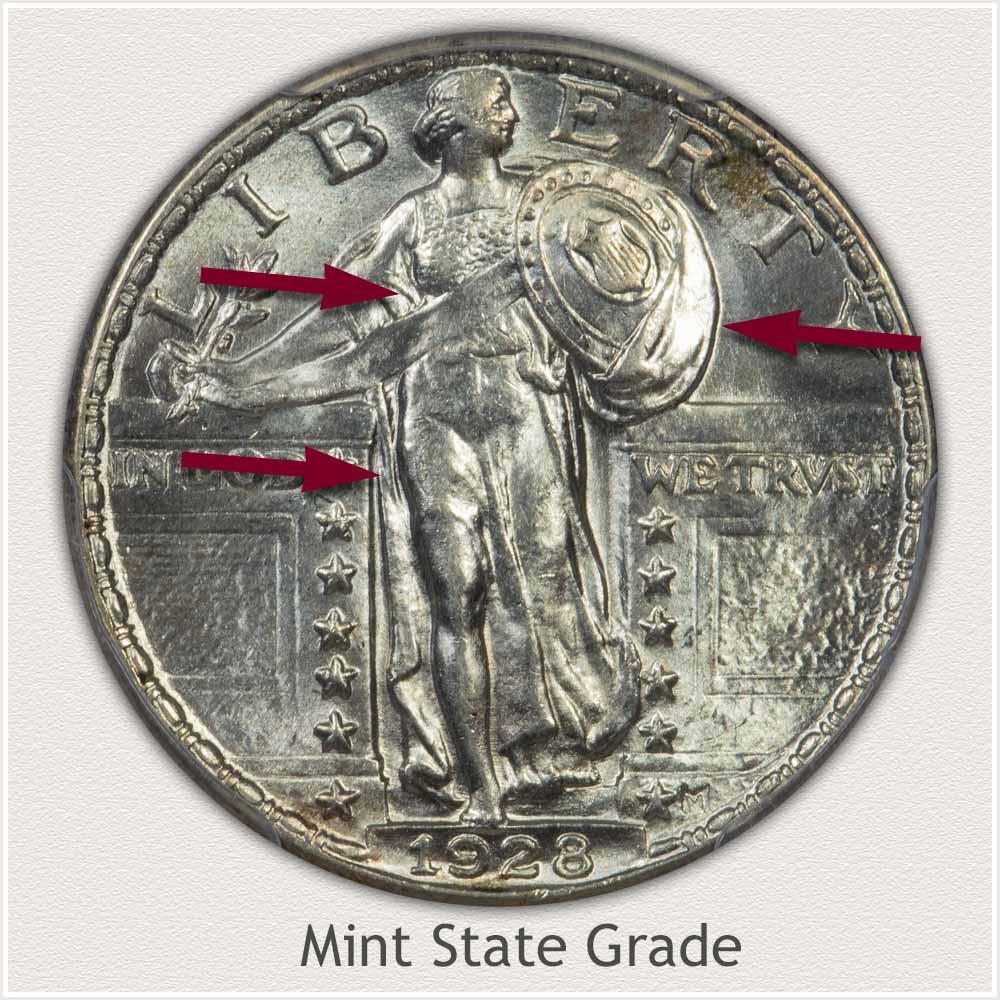 1928 Standing Liberty Quarter Mint State Grade