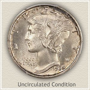 1934 Dime Uncirculated Condition