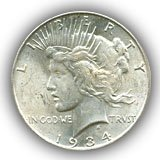 1934 Peace Silver Dollar Uncirculated Condition