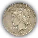 1934 Peace Silver Dollar Extremely Fine Condition