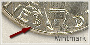 1935 Dime D Mintmark Location