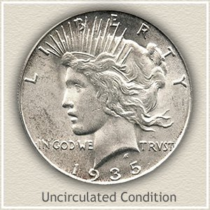 1935 Peace Silver Dollar Uncirculated Condition