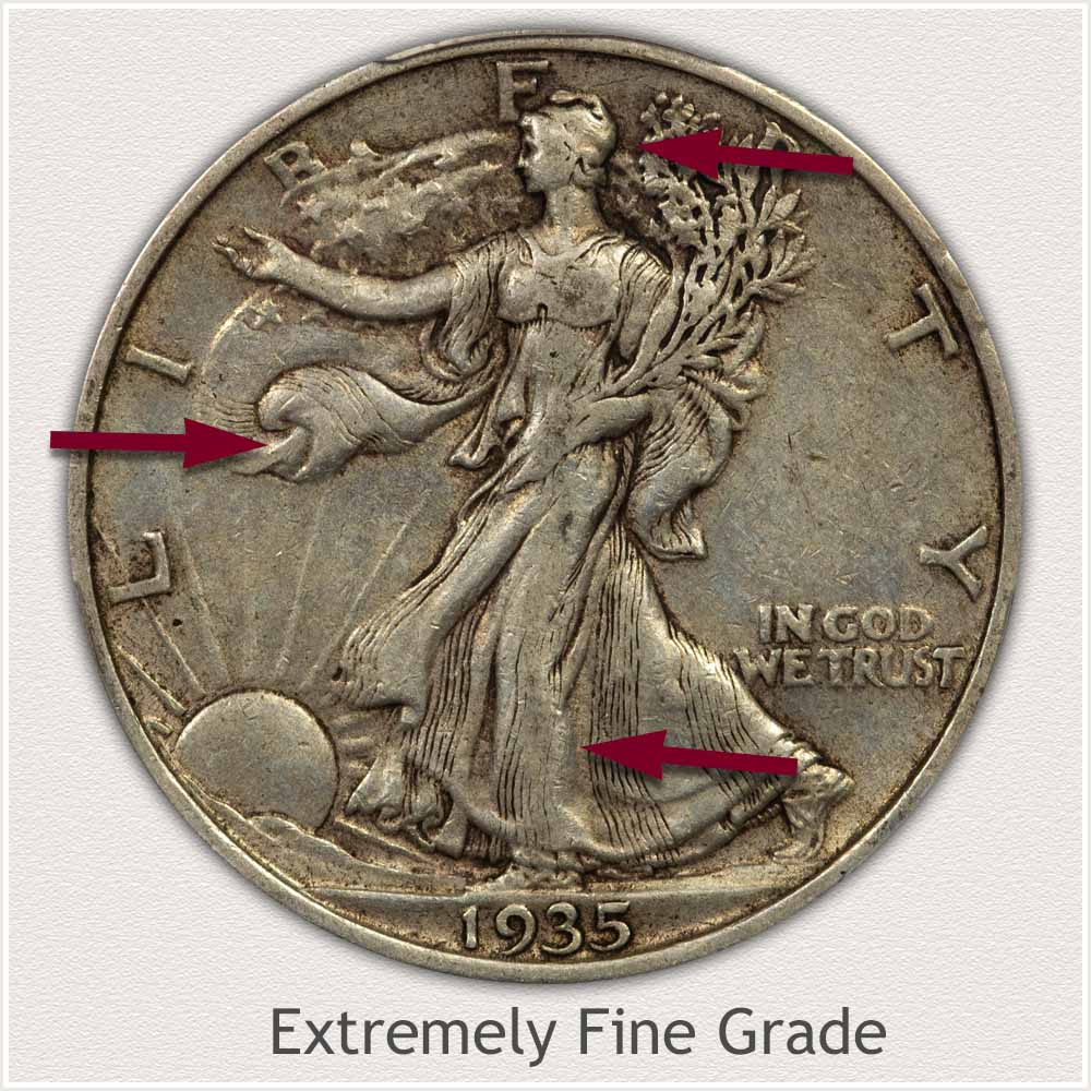 1935-S Walking Liberty Half Dollar in Extremely Fine Grade