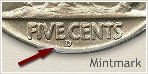 1937 Nickel D Mintmark Location