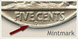 1937 Nickel D Mintmark Location