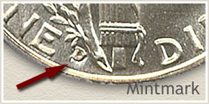 1938 Dime D Mintmark Location