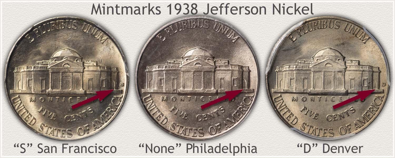 Mintmarks on Three 1938 Jefferson Nickels