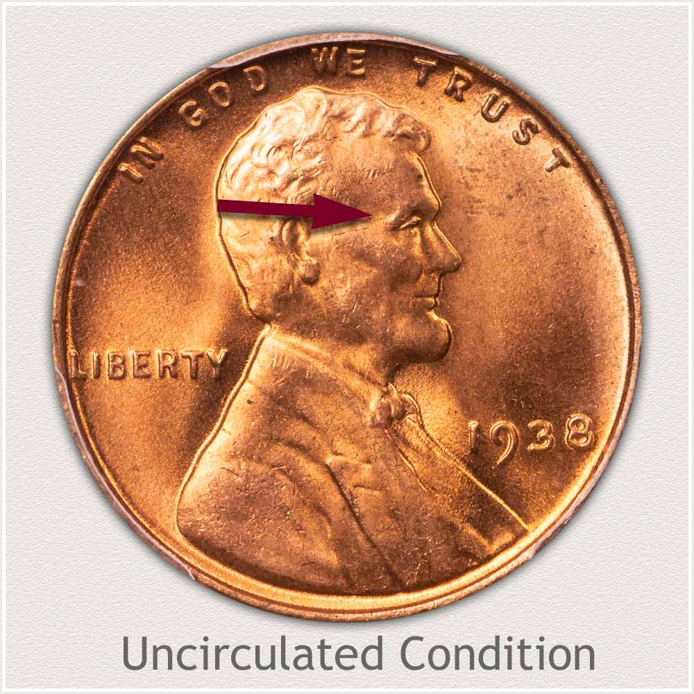 Uncirculated Grade 1938 Lincoln Penny