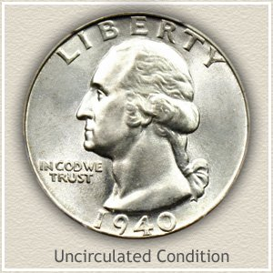 1940 Quarter Uncirculated Condition