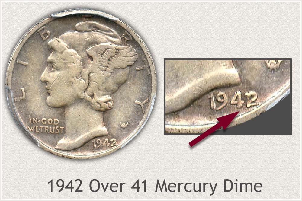 1942 Over 41 Mercury Dime