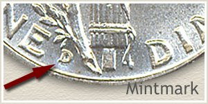 1943 Dime D Mintmark Location