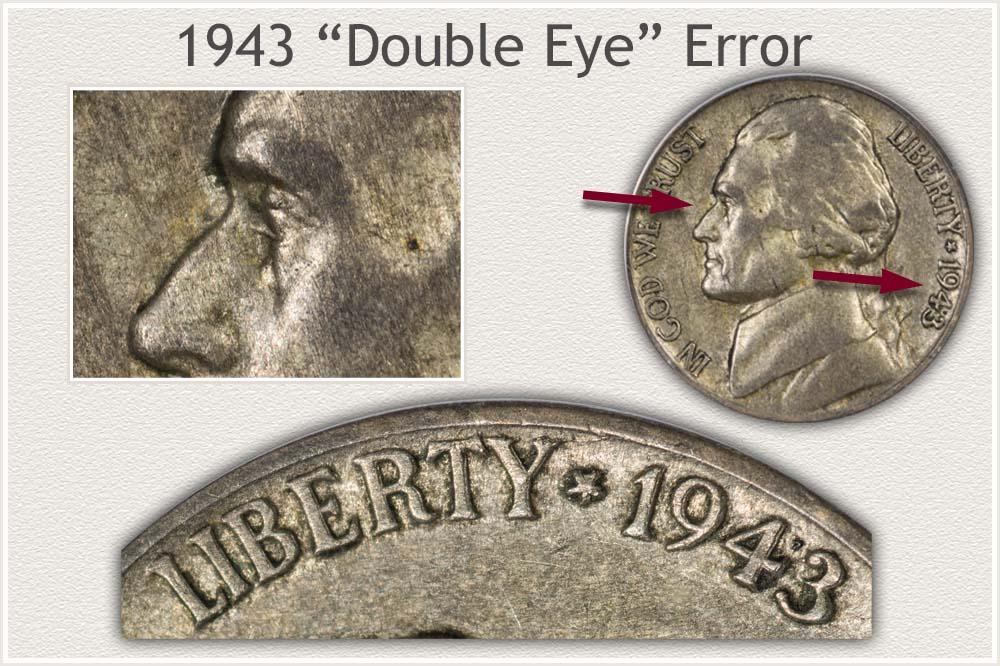 1943 Double Eye Error Jefferson Nickel