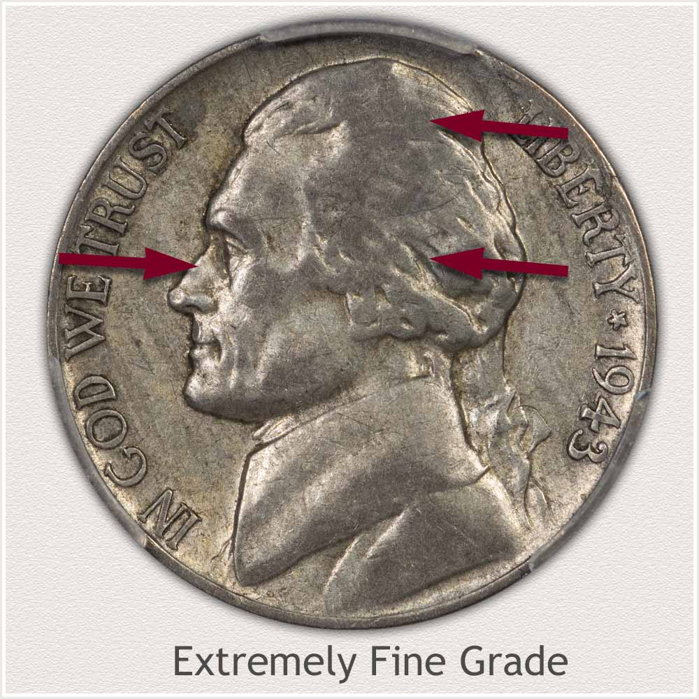 1943 Jefferson Nickel Extremely Fine Grade