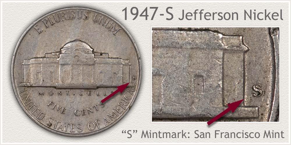 1947-S Jefferson Nickel
