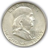 1948 FRanklin Half Dollar About Uncirculated Condition