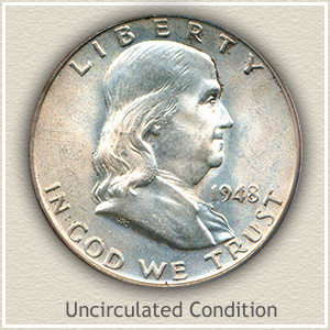 1948 Franklin Half Dollar Uncirculated Condition