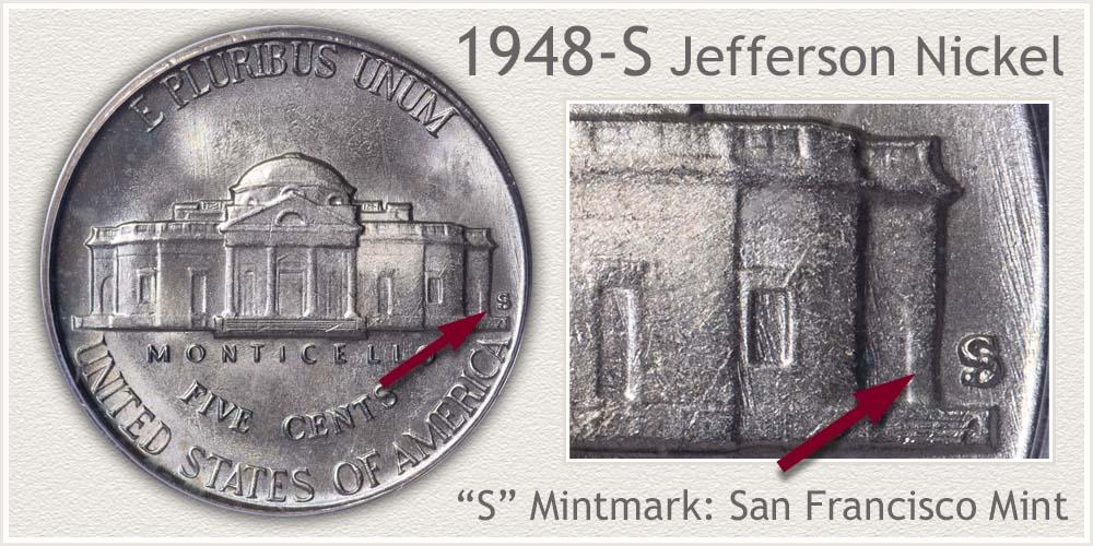 1948-S Jefferson Nickel