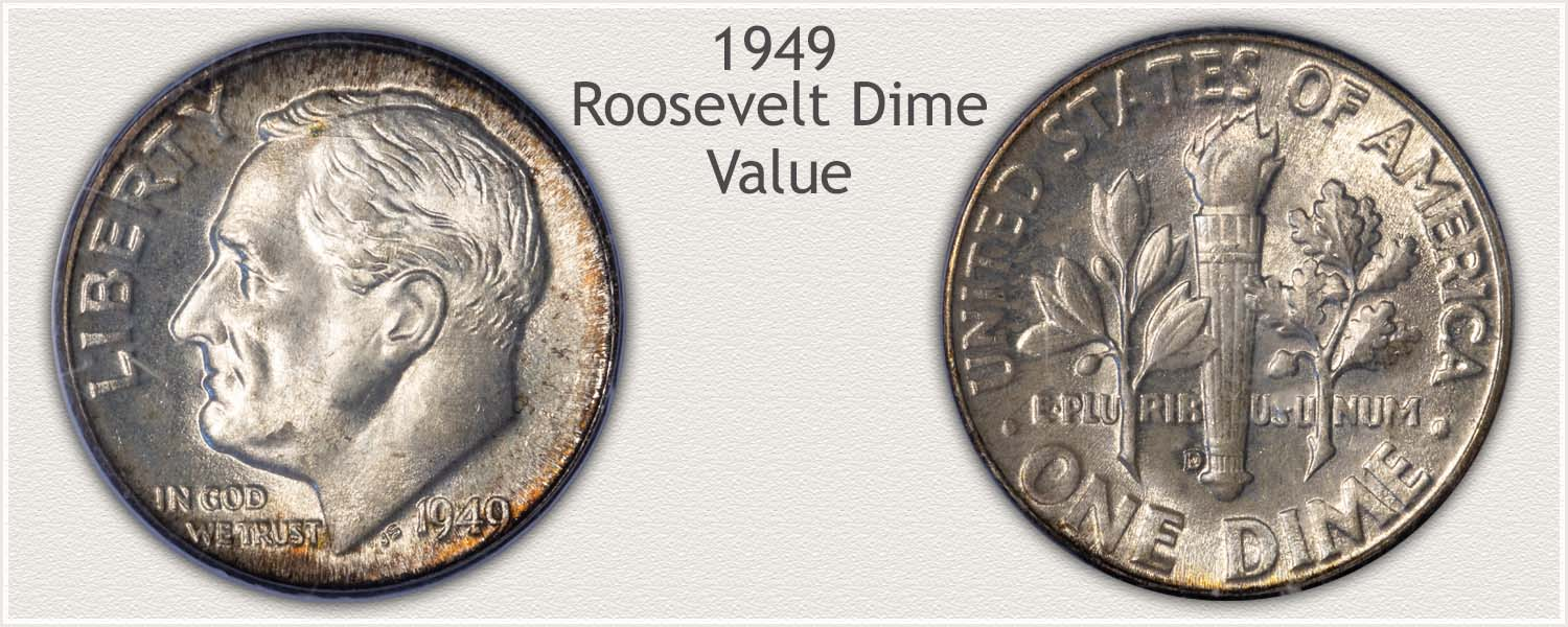 1949 Roosevelt Dime - Obverse and Reverse