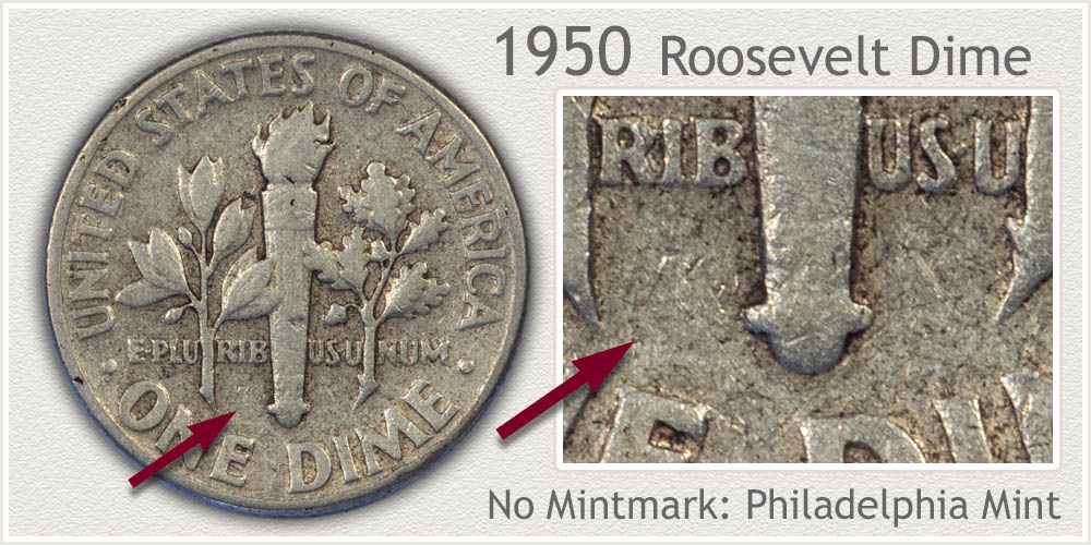 1950 Roosevelt Dime