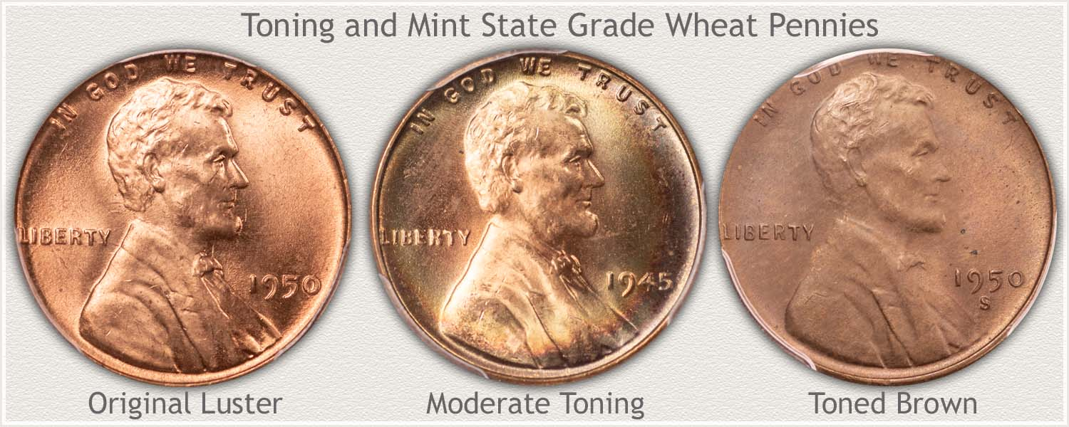 Three Toning Example Wheat Cents