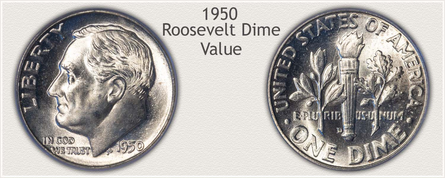 1950 Roosevelt Dime - Obverse and Reverse