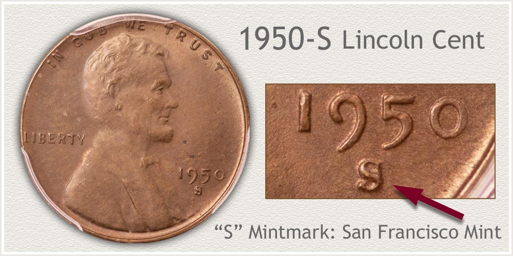 1950-S Lincoln Penny