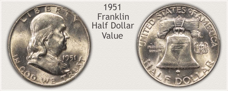 1951 Half Dollar - Franklin Half Series - Obverse and Reverse View