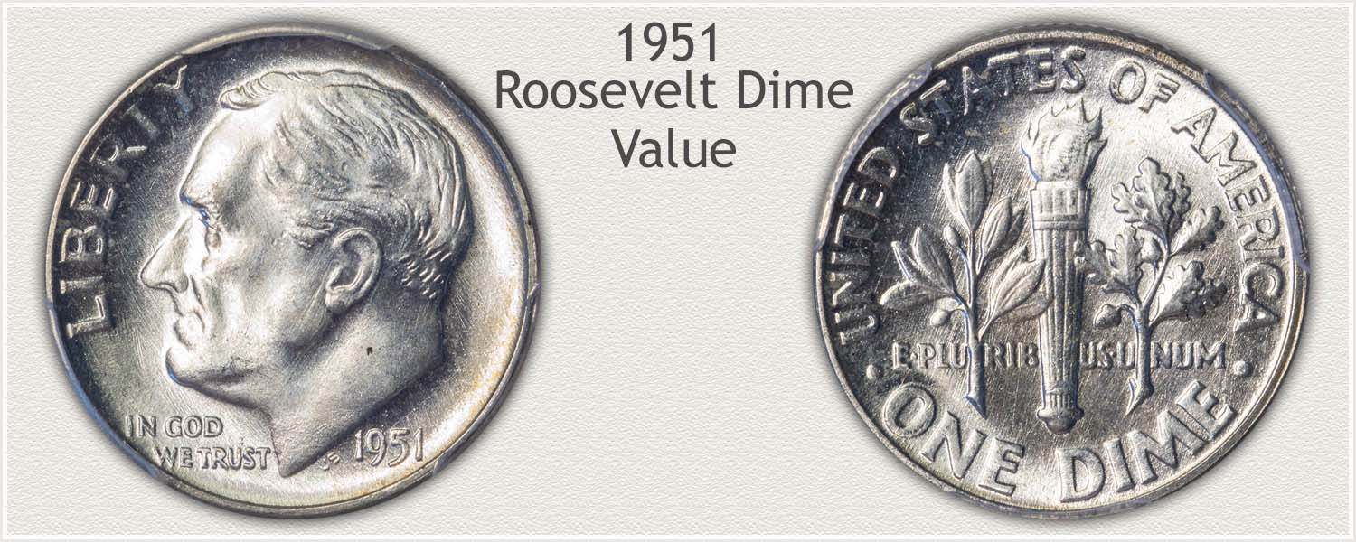 1951 Roosevelt Dime - Obverse and Reverse