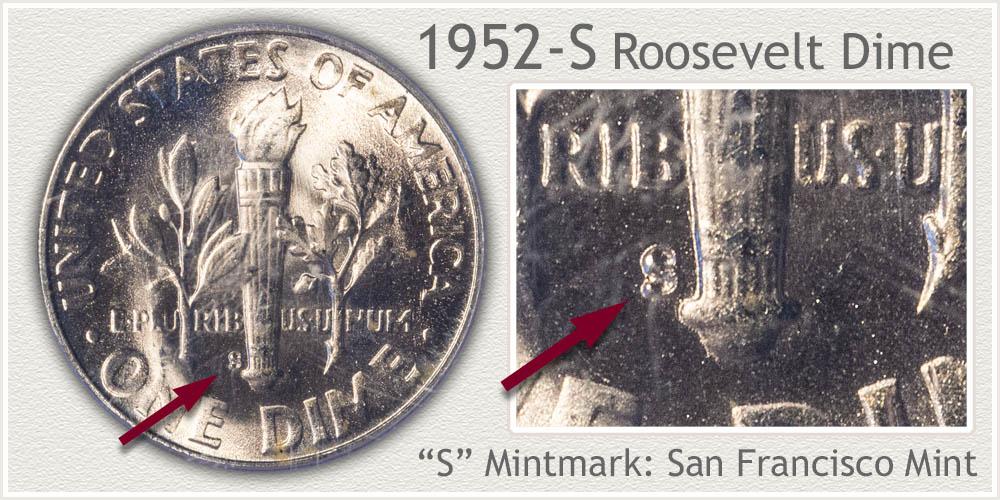 1952-S Roosevelt Dime