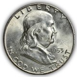 1953 Franklin Half Dollar Uncirculated Condition