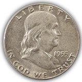 1955 FRanklin Half Dollar About Uncirculated Condition