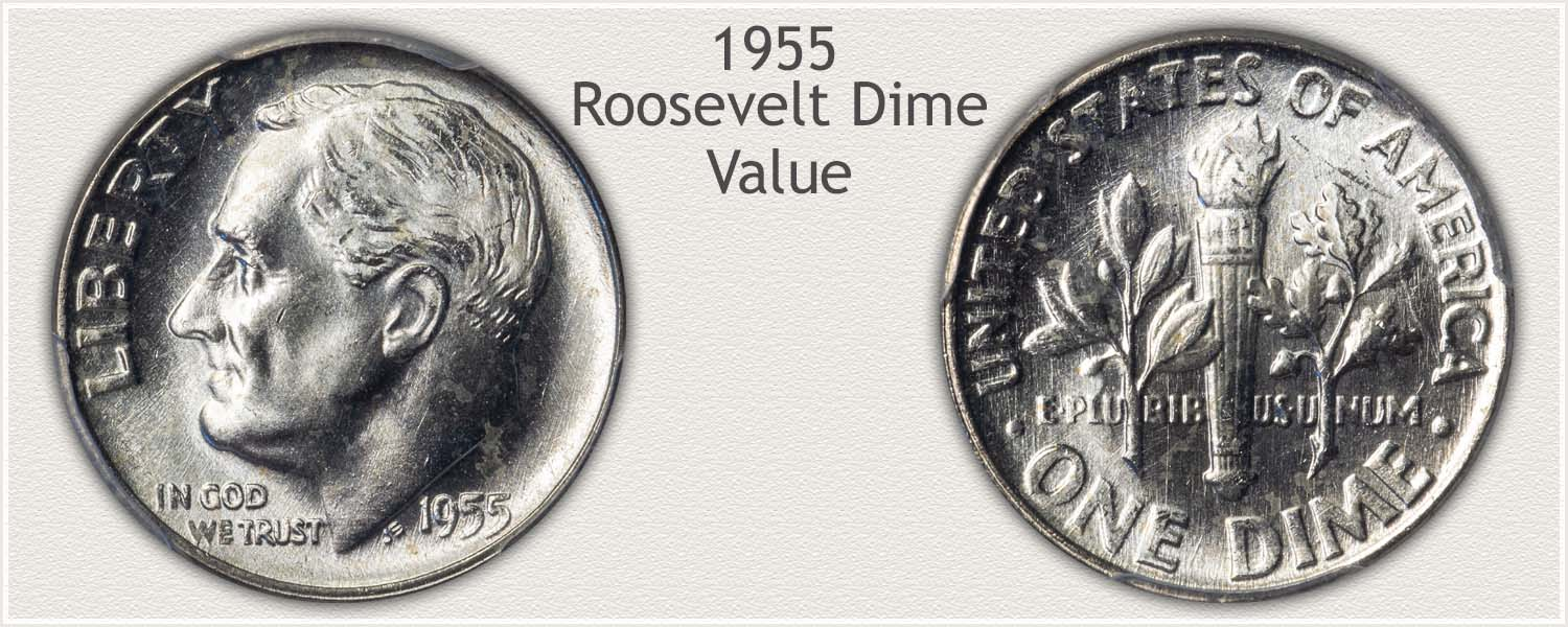 1955 Roosevelt Dime - Obverse and Reverse