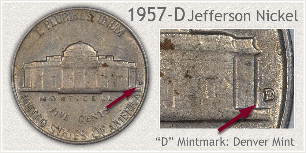 1957-D Jefferson Nickel