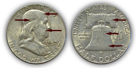 1957 FRanklin Half Dollar About Uncirculated Condition