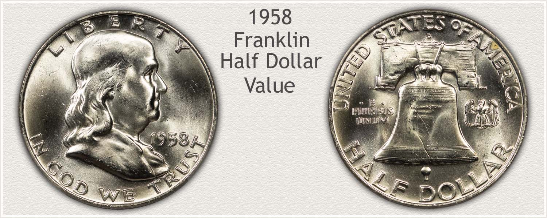 1958 Half Dollar - Franklin Half Series - Obverse and Reverse View