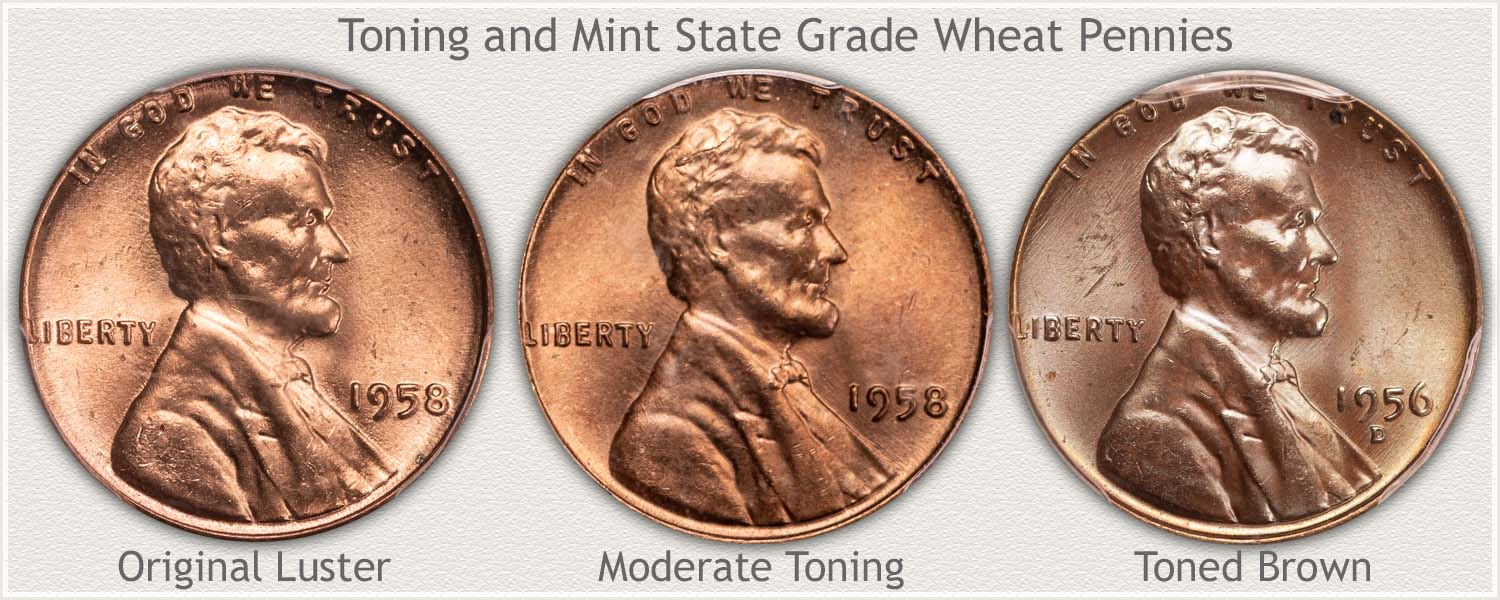 Examples of Toning on Mint State Pennies
