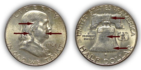 1961 Franklin Half Dollar About Uncirculated Condition