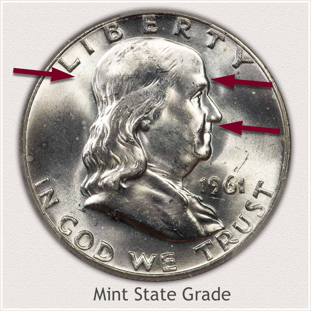 1961 Franklin Half Dollar Mint State Grade
