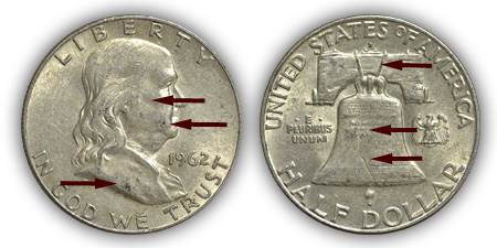 1962 Franklin Half Dollar About Uncirculated Condition