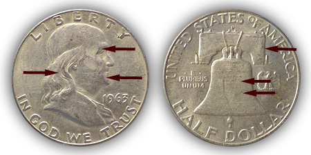 1963 Franklin Half Dollar About Uncirculated Condition