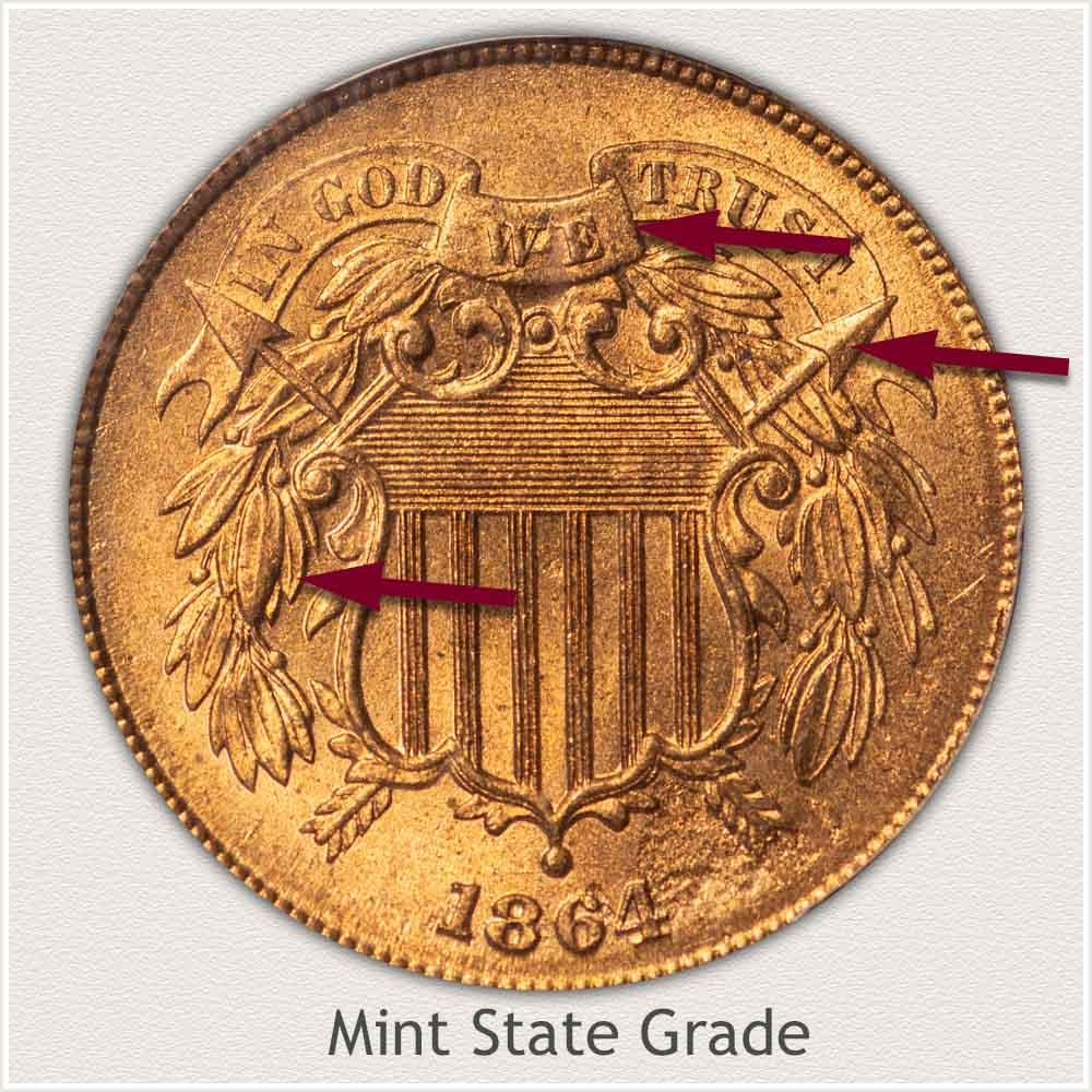 Obverse View: Mint State Grade Two Cent Coin