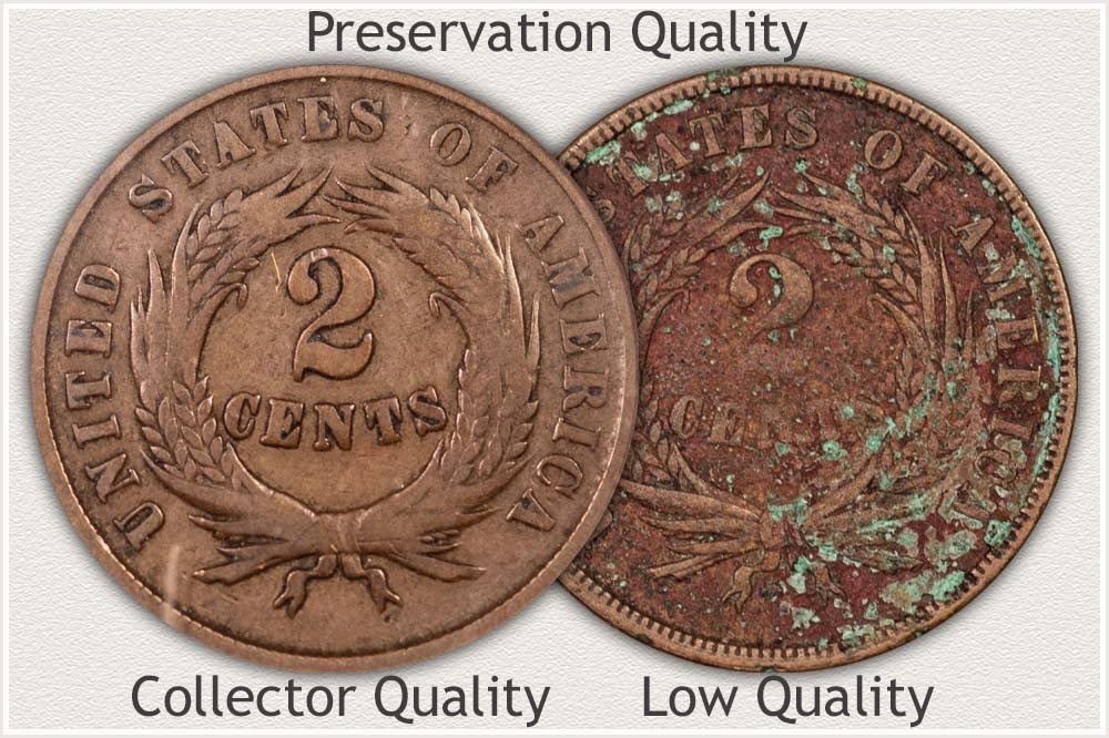 2 Cent Coin Displaying Damage