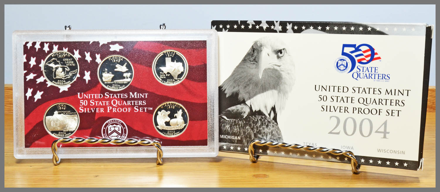 2004 Silver 5-Coin State Quarter Proof Set and Package