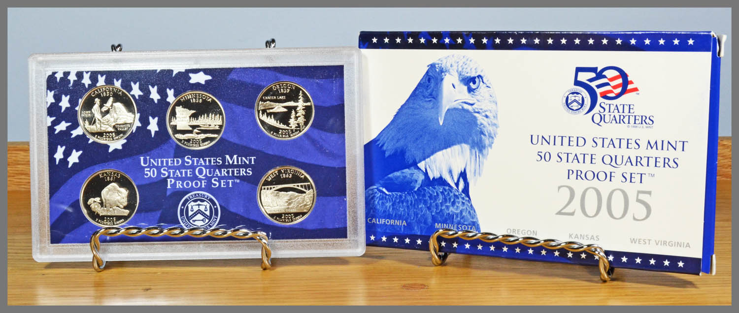 2005 5-Coin State Quarter Proof Set and Package