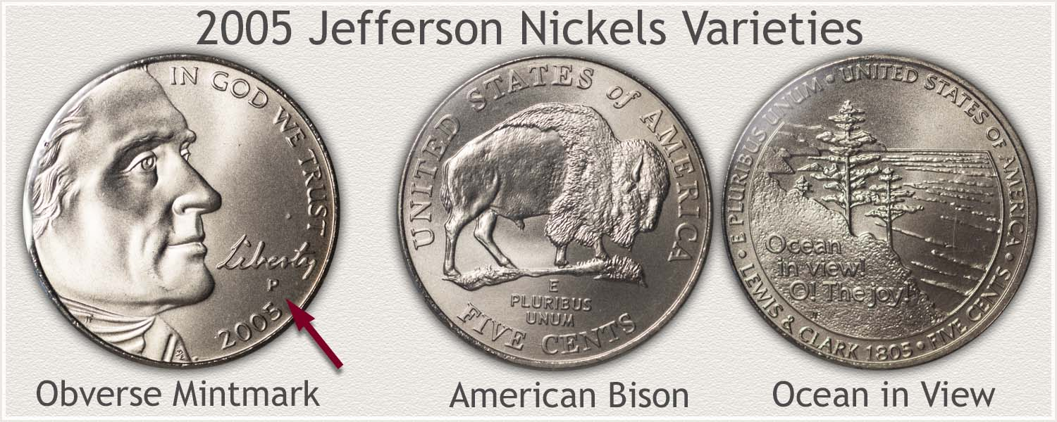 2005 Jefferson Nickel Varieties: American Bison and Ocean in View