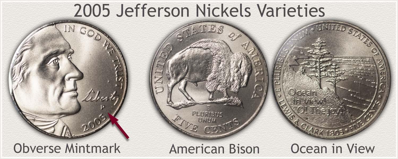 2005 Jefferson Nickel Varieties: American Bison and Ocean in View
