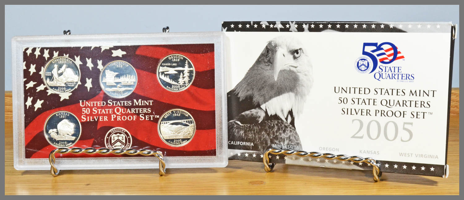 2005 Silver 5-Coin State Quarter Proof Set and Package